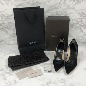 BRAND NEW Authentic Gucci Black Suede Heel Pumps